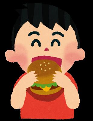 ハンバーガーと男の子