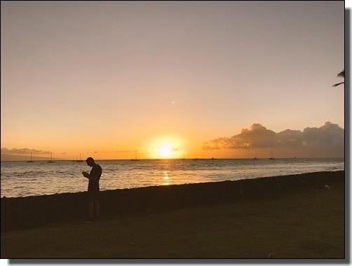 JALビジネスクラスで行くハワイ旅行の夕焼け
