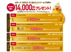dカードのキャンペーンで14,000円キャッシュバック