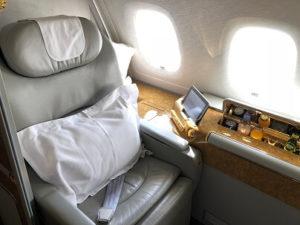 エミレーツ航空ファーストクラスの座席