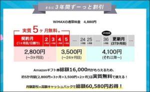 JP WiMAXは3年間ずっと料金が割引