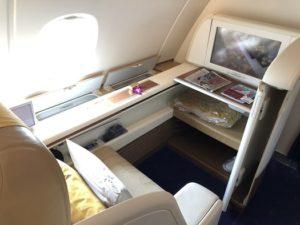 タイ航空ファーストクラスの座席