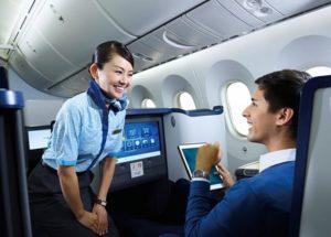 飛行機内でCAさんと会話